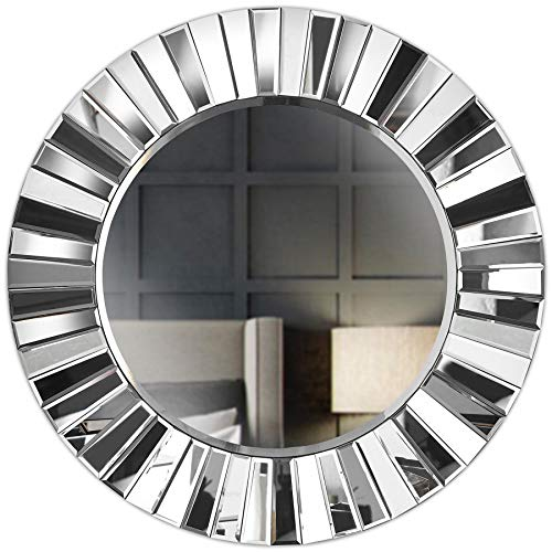 Knightsbridge Grey Wall Round Mirror 3D Effect Mirrored Design Perfect For Hallway Living Room Bedroom