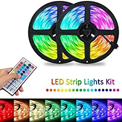 LEANO RGB LED Strip Flexible Light 44-Key Infrared Remote Control LED Bulbs