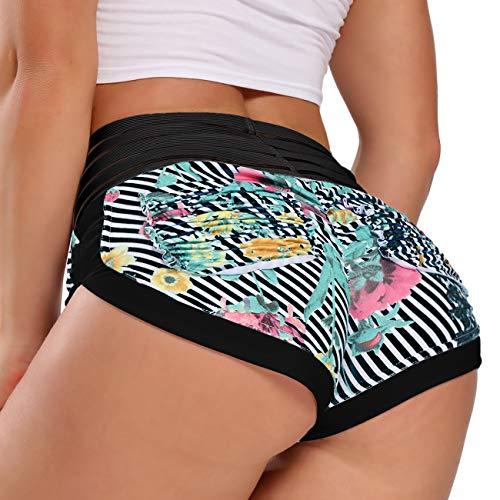 FITTOO Damen Sportshorts Skinny Slim Fitnesshose für Training Workout Yoga Kurze Hose mit Hoher Taille Gummiband Streifen-Schwarz M