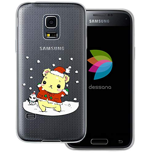 dessana - Cover trasparente per Samsung Galaxy S5 Mini orsetto con pupazzo di neve