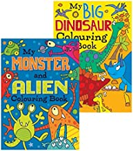 Squiggle - Boys A4 My Monster/Alien & Big Dinosaur Colouring Books - Set of 2