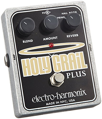 electro-harmonix Holy Grail Plus Holy Grail plus Pedal - Pedal de efecto eco/delay/reverb para guitarra, color plateado
