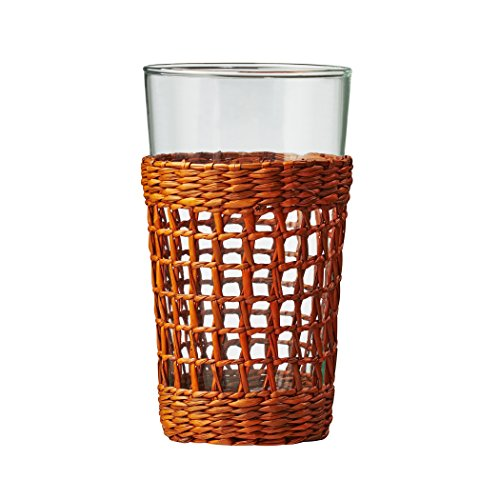 Amici Home, , Bali Collection Hiball Drinking Glass, Recycled Glass, Handwoven Rattan Wrapping, Set of 6, 17 Ounces