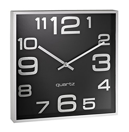 Alco 187–11Reloj de Pared, Aprox. 28, 3x 4, 1cm, Plata Negro, Plástico, Negro Plata, 28.3x 28.3x 4.1cm
