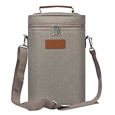 Kato Insulated Wine Tote Carrier - 2 Bottle Travel Padded Wine Cooler Bag with Handle and Adjustable Shoulder Strap, Great Wine Lover Gift, Gray