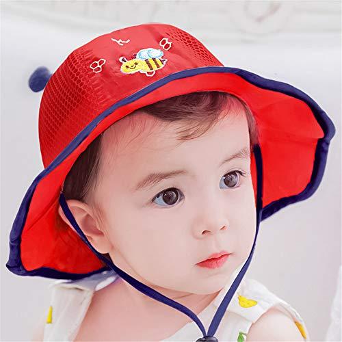 mlpnko Gorro de bebé de algodón 0-12 Meses Gorro de Lavabo para bebé Visera Protector Solar Gorro de Pescador Gorro de Malla pequeño Rojo (44-48cm)