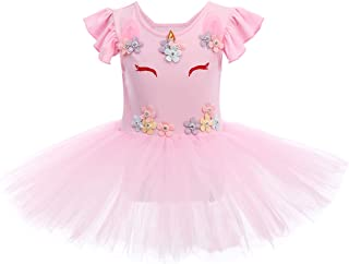 FYMNSI Kids Girl Ballet Tutu Dress Gymnastic Dance Dresses Flutter Fly Sleeve One-Piece Leotard Ballerina Dancewear Chiffon Wrap Skirt Fairy Princess Costume Outfit Clothes for Age 1-12 Years