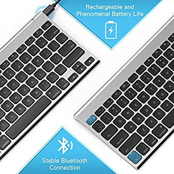 Rechargeable Bluetooth Keyboard for MacOS, Jelly Comb 009E Compact Wireless Keyboard Compatible for MacBook, MacBook ...