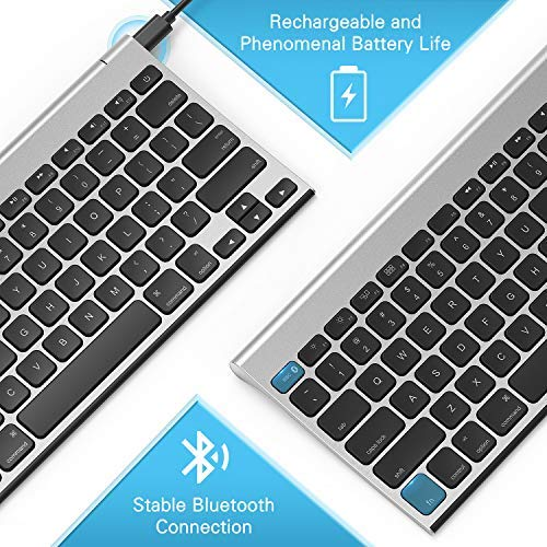 Rechargeable Bluetooth Keyboard for MacOS, Jelly Comb 009E Compact Wireless Keyboard Compatible for MacBook, MacBook Air, MacBook Pro, iMac, and iMac Pro (Black Silver)