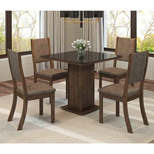 Conjunto Sala de Jantar Mesa Quadrada Tampo Mdf Luana 4 Cadeiras Kiara Viero Grigio/canela/vidro Preto