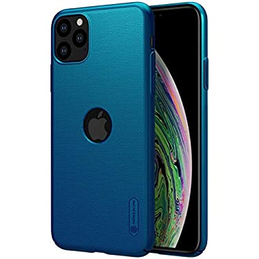 """Nillkin Case for Apple iPhone 11 Pro Max (6.5"""" Inch) Super Frosted Hard Back Cover PC with Logo Cut Peacock Blue Color"""