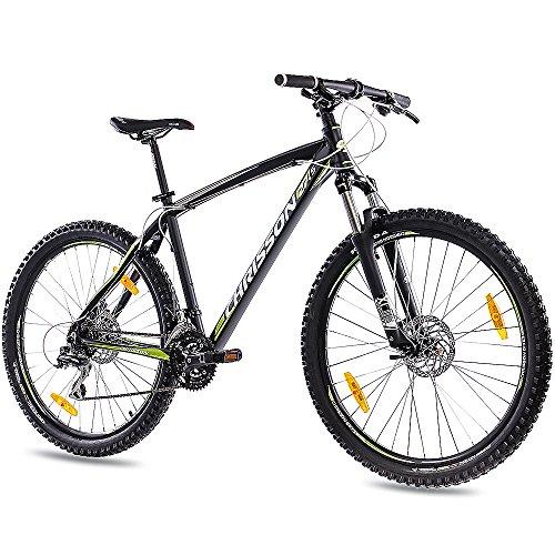 CHRISSON 27,5 Zoll Mountainbike Hardtail - 27,5er schwarz - Hardtail Mountain Bike mit 24 Gang Shimano Acera Kettenschaltung - MTB Fahrrad für Herren und Damen Suntour Federgabel