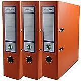 Netuno Ekobox Folder Organiser - Archivador de 2 anillas, 8 cm, A4, de cartón, para oficina, escritorio, 3 unidades, color naranja