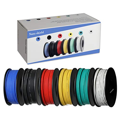 6 Colors (32.8ft Each) Hook Up Wire Kit (Stranded Wire Kit) 26 AWG UL3239 Approved, 7 Gauge Felexible Silicone Rubber Insulated Wire Tinned Copper, 300V Cables Electronic Cable Electrical Wire