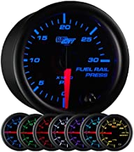 GlowShift Black 7 Color 30,000 PSI Fuel Rail Pressure Gauge - for 2002-2018 6.6L Chevy Duramax & 2003-2018 5.9L / 6.7L Dodge Cummins Diesel Trucks - Black Dial - Clear Lens - 2-1/16