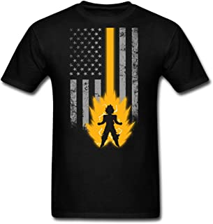 Saiyan Lover with American Flag T - Shirt Novelty Graphic Man Funny Fashion T-Shirt