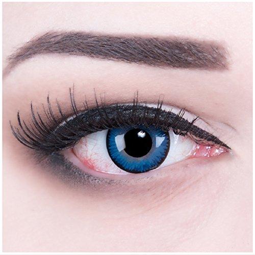 Funnylens 1 Paar farbige Crazy Fun space blue Jahres Kontaktlinsen. perfekt zu Halloween, Karneval, Fasching oder Fasnacht mit gratis Kontaktlinsenbehälter ohne Stärke!