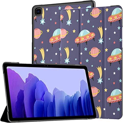 Funda para Samsung Galaxy Tab A7 Tablet de 10,4 Pulgadas 2020 (sm-t500 / t505 / t507), Nave Espacial alienígena en el Espacio Exterior, patrón Transparente, Vector, Soporte de ángulo múltiple, cubier