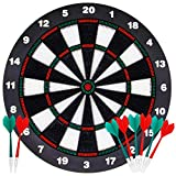 ATDAWN 16.4 Inch Safety Dart Board Game Set with 8 Soft Tip Darts, Indoor Outdoor Party Games, Sports Gifts...