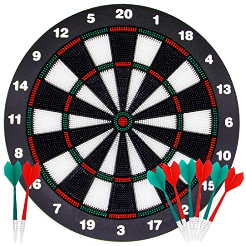 ATDAWN 16.4 Inch Safety Dart Board Game Set with 8 Soft Tip Darts, Indoor Outdoor Party Games, Sports Gifts for Kids and Adults, Easily Hangs Anywhere