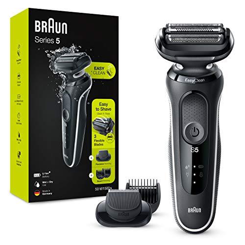 Braun Series 5 50-W1500s Afeitadora Eléctrica, máquina de afeitar barba hombre de lámina , con Recortadora De Barba, Uso En Seco Y Mojado, Recargable, Inalámbrica, Blanco