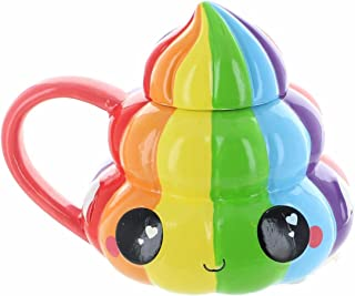 Glitter Galaxy Collectibles | Rainbow Poo Emoji Mug with Lid | 20 Ounces