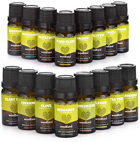 Woodland Huiles Essentielles Naturelles avec Livre d'Aromathérapie (16 Flacons de 10 ml) 100% Pure, de Qualité Thérapeutique | Diffusion, Bain, Massage, Relaxation, Méditation