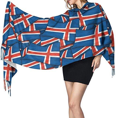 IJsland Vlag Wave Collage Zachte kasjmier sjaal Wrap sjaals lange sjaals voor vrouwen Office Party Reizen 68X196 cm