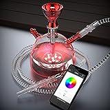 NARSHISHA Hookah Party Pub Smoking Narghile con Base de luz LED - Bluetooth controlado(rojo)