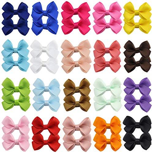 40 Stück 2,4 Zoll Baby Mädchen voll gefüttert Grosgrain Band Schleifen Haarschleife Clips Haarspangen für Mädchen Teenager Kinder Babys Kleinkinder