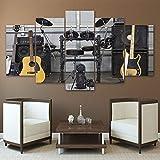 Decoración del Hogar Lona Sala De Estar HD Modern 5 Panel Instrumento De Música Guitarra Imágenes Impresas Arte De La Pared Cartel Modular Marco De Pintura B6565