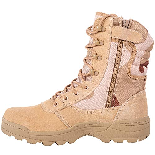 RIELD Men's Military Tactical Work Boots Side Zipper Jungle Army Combat Boots