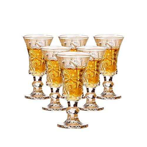 Runde Schnapsgläser, 38 ml, bleifreies Glas, transparent, schwerer Boden, 6er-Set