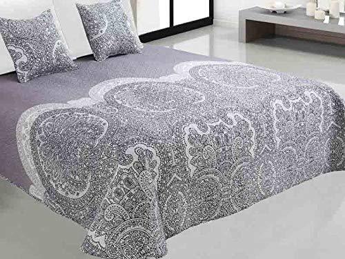 Zweiseitige Tagesdecke Bettüberwurf 3 Tlg. 180x220 cm+ 2 Kissenbezüge Tavira Ecru Weiß Violett Rosa Lila Grau Schwarz - J-003