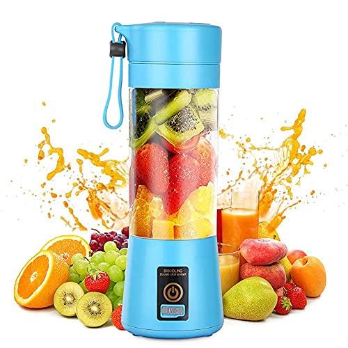 Licuadora personal, portátil, para frutas, recargable con USB, mini batidora de vaso para batidos, zumo de frutas, máscara completa, 380 ml, seis cuchillas 3D para una excelente mezcla de color azul