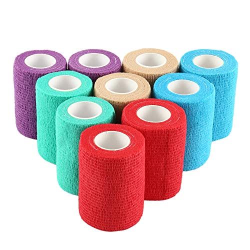 10 Pack 3''x5 Yards Self-Adhesive Cohesive Wrap Bandage Tape, Elastic Non-Woven Assorted Colors Strong Sports Tape for Wrist, Ankle Sprains & Swelling, Self-Adhesive Bandage Rolls