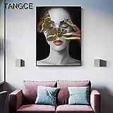 baodanla Sin Marco Vertical nco jacobean, Golden Butterfly Girl Canvas Misterioso Lady Oil ng, Imprenta, Papel Tapiz escolar40x60cm