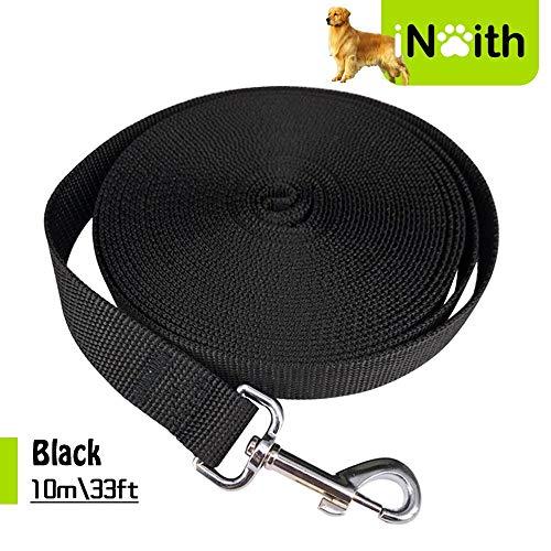 iNeith Guinzaglio lungo per addestramento, campeggio, passeggiate, obbedienza, giochi, 10m, in nylon, nero