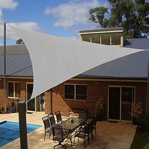 Artpuch 12' x 12' x 12' Triangle Sun Shade Sails Grey UV Block Shelter Canopy for Patio Garden Outdoor Facility and Activities