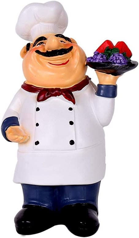 Amazon Com Holding Fruit Resin Chef Statue Decorative American Figurine For Counter Restaurant Cafe Country Cottage Tabletop Kitchen Decorations Dining