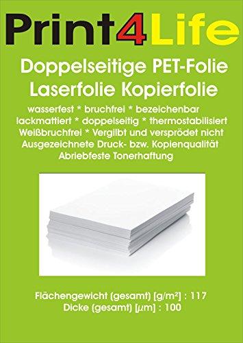 25 Blatt DIN A4 Doppelseitige PET-Folie Laserfolie Kopierfolie 117g/m² wasserfest bruchfrei bezeichenbar lackmattiert und thermostabilisiert 0,1mm