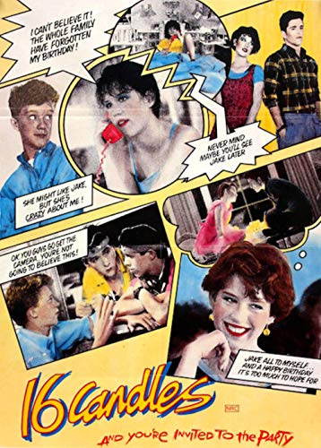 16 Candles 1984 Movie Comic Book Art Poster and Your Invited to The Party 24 in x 36 in Molly Ringwald Reprint