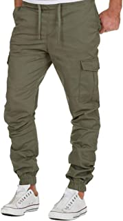Jueshanzj Homme Pantalon Cargo en coton multi poches sans ceinture