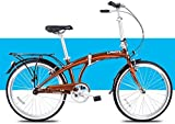 Aoyo Licht Faltrad, Erwachsene Männer Frauen Falträder, 24' Single Speed Folding Stadt-Fahrrad, Aluminiumlegierung-Fahrrad mit hinterem Carry-Rack (Color : Brown)