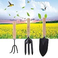 3Pcs Spade Fork Shovel Rake Harrow Set Home Mini Gardening Tools Potted Landscape Plants Maintenance Suit Wood Handle Kids Gifts