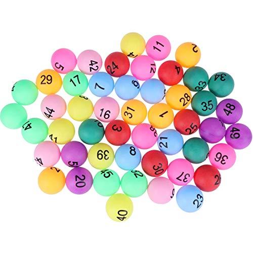 Pelotas de Ping Pong Colores Bolas de Lotería con Número 1-50 Bolas de Ping Pong Pelotas de Tenis de Mesa Bingo Accesorios del Juguete de Lotería para Niños y Adultos al Aire Libre, Juegos de Interior ✅
