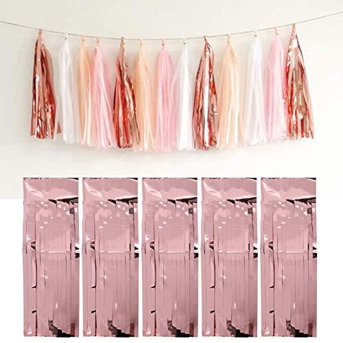 Pssopp 25 Piezas de Guirnalda de borlas para decoración Colgante de Fiesta para Bodas Despedidas de Soltera y Suministros de decoración para Fiestas de cumpleaños(Oro Rosa)