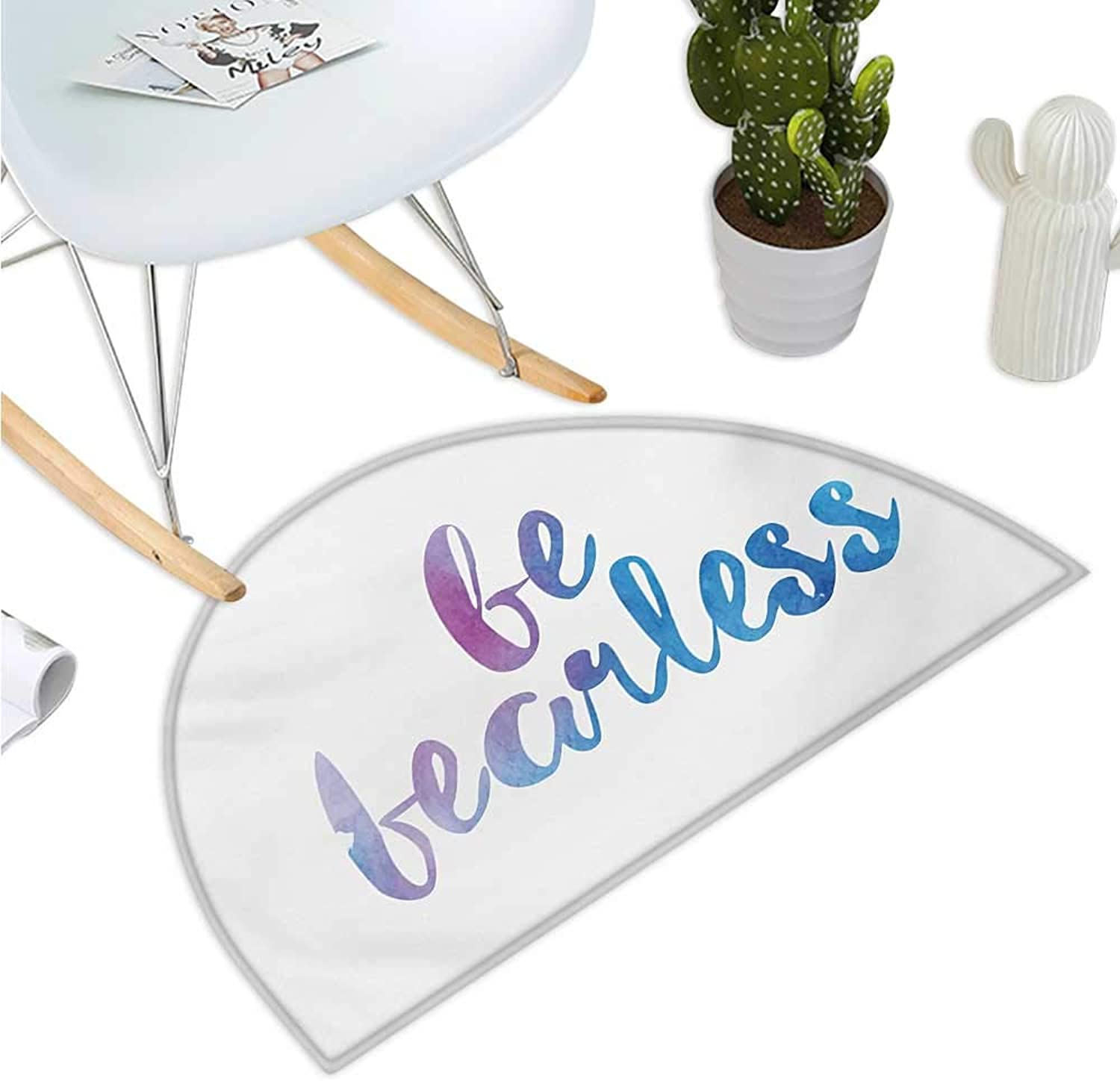 Quote Semicircular Cushion Be Fearless Text Expression in Watercolor Style with Smooth color Changes Entry Door Mat H 43.3  xD 64.9  purplec White and bluee