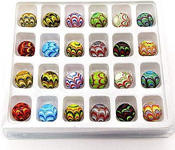 N\C 24 canicas de Murano hechas a mano, adecuadas para decoración de jardín de acuario, relleno de jarrón, bola de cristal y juguetes de juego (16 mm).