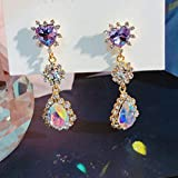 Pendientes de Gota de Cristal de corazón Brillante Coreano para Mujer Pendientes de Regalo de Fiesta con Diamantes de imitación de Concha de Moda, corazón-11